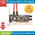 Free shipping 1pcs Brand New 4 Port SATA PCI CONTROLLER RAID CARD 4 SATA SERIAL ATA PCI CONTROLLER RAID I/O CARD PC+Cable