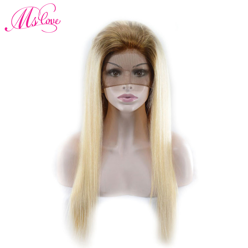 Ms Love Ombre cheveux humains perruques T4/613 Blonde droite dentelle avant/pleine dentelle/360 dentelle perruques pré plumé brésilien Remy cheveux perruques