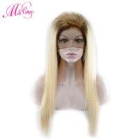 MS Love Ombre натуральные волосы парики T4/613 светлые прямые Синтетические волосы на кружеве/полный шнурок/360 парики шнурка предварительно сорвал