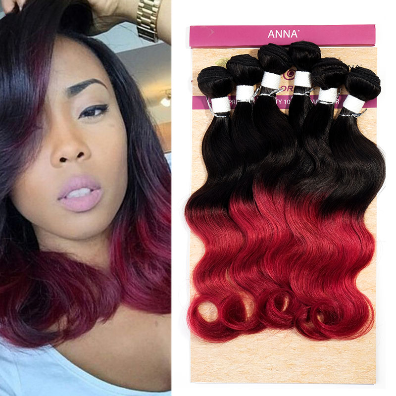 Evet Brazilian Virgin Hair Body Wave Ombre Weave Two Tone Brazilian