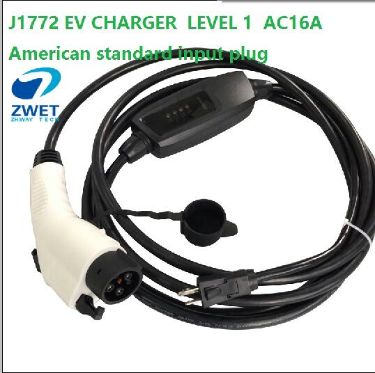 Zwet J1772 Evse Charger Level 1 Ac120v 250v 16a Plug Type With Eu Wall Socket Input Oem 5 Pieces Lot In Chargers Service Equipment From