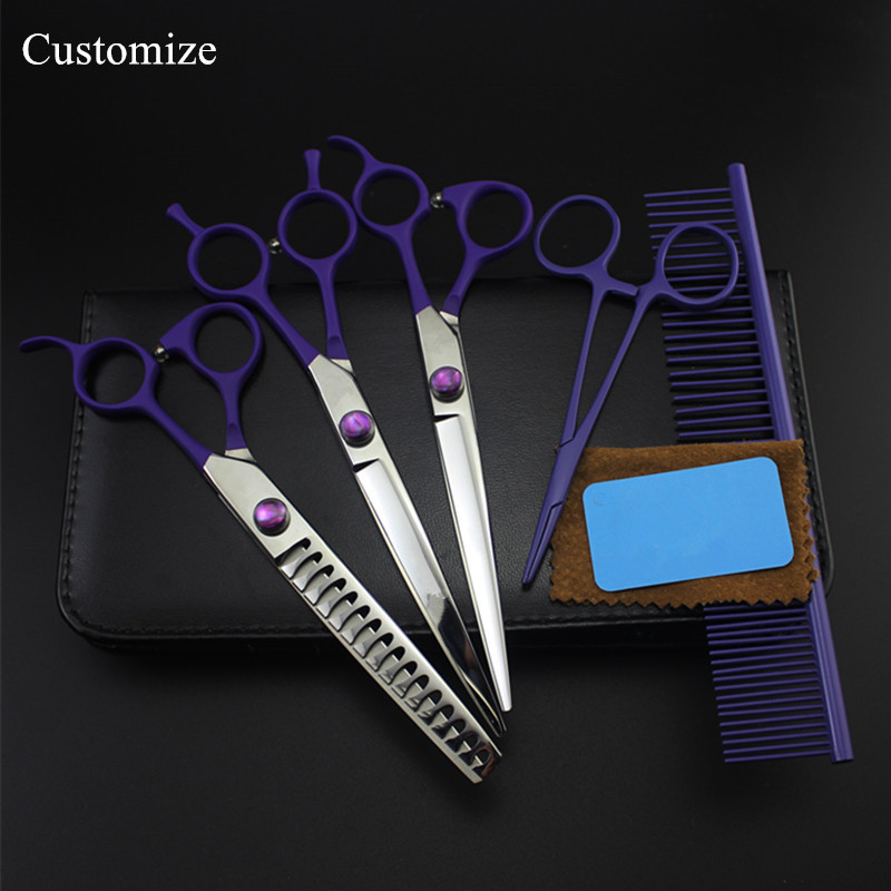 Customize 5 kit japan 440c 7 inch Violet Pet dog grooming hair scissors dog cutting shears thinning barber hairdressing scissors 4 kit japan yellow pet 7 inch shears cutting hair scissors dog grooming clipper pets thinning barber comb hairdressing scissors