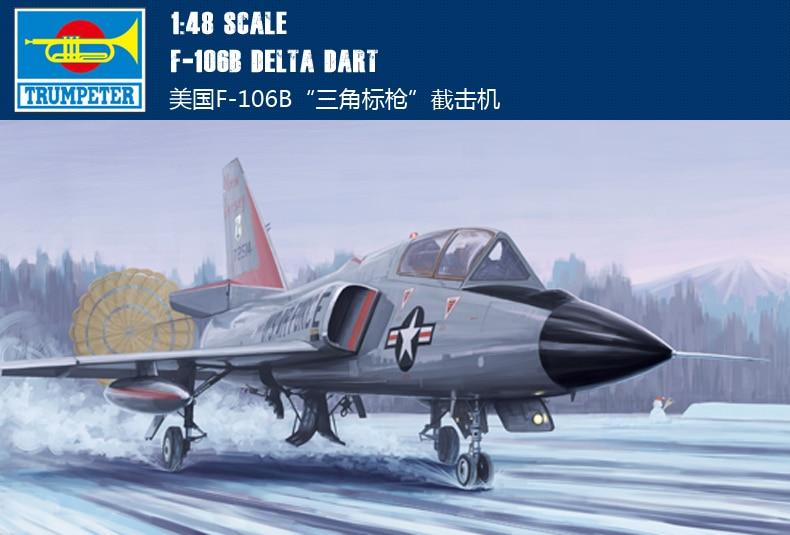 Trumpeter 02892 1:48 American F-106B triangle sign interceptor Assembly model 106b 2 5