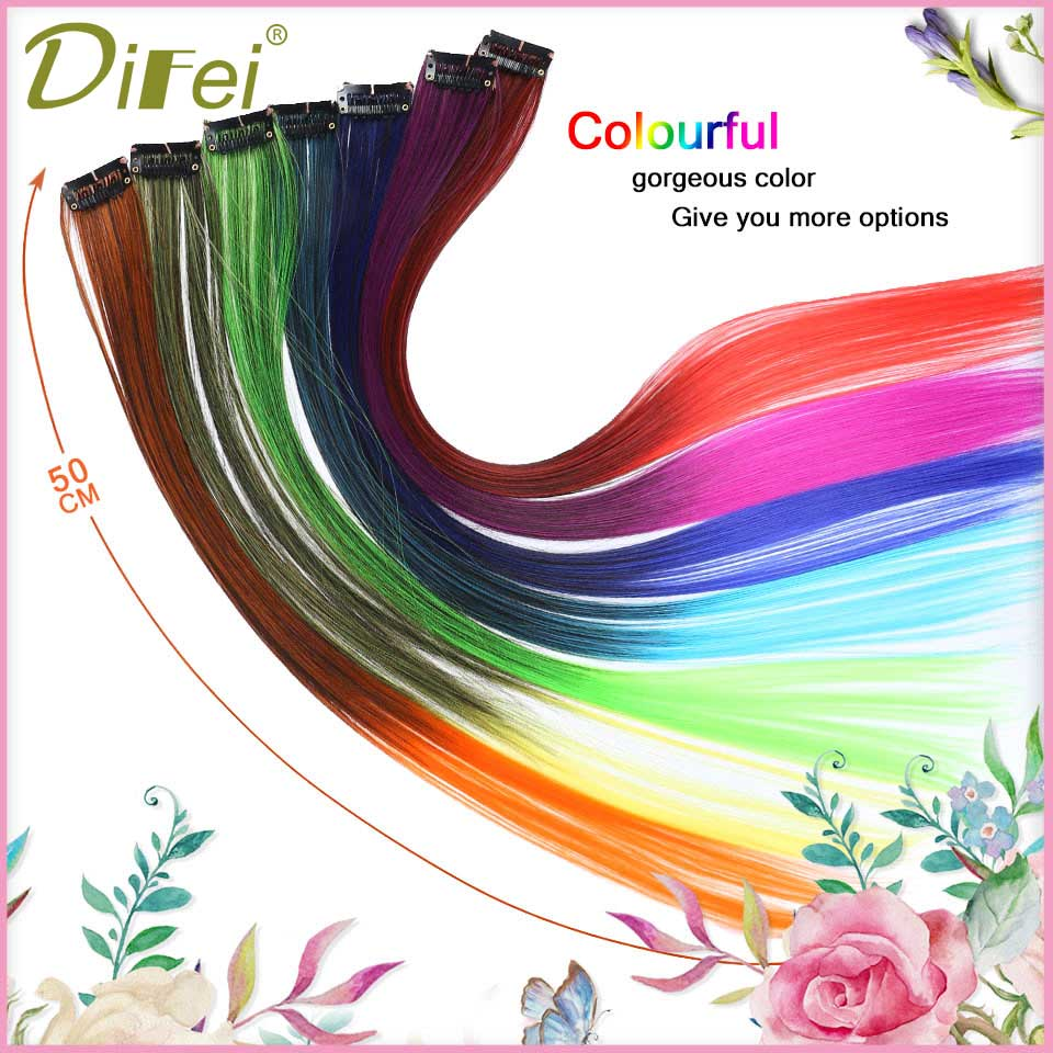 Difei 50cm Single Clip In One Piece Hair Extensions Synthetic Long