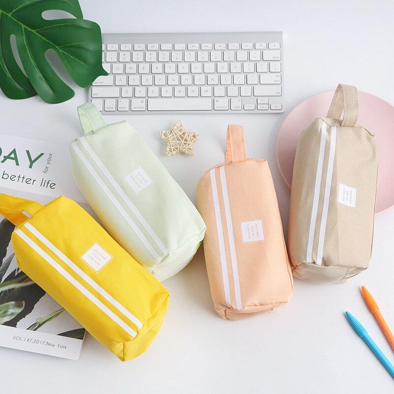 Kawaii Pencil Case Canvas Zipper Large Capacity Cute Pencil Box Portable Storage Bag School Supplies  Japanese Stationery