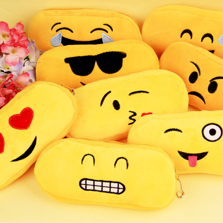 Cute Kawaii Funny Cartoon Emoji Expression Sponge Pencil Case Creative Pen Bag Novelty Pencil Bag For Gift Korean Stationery