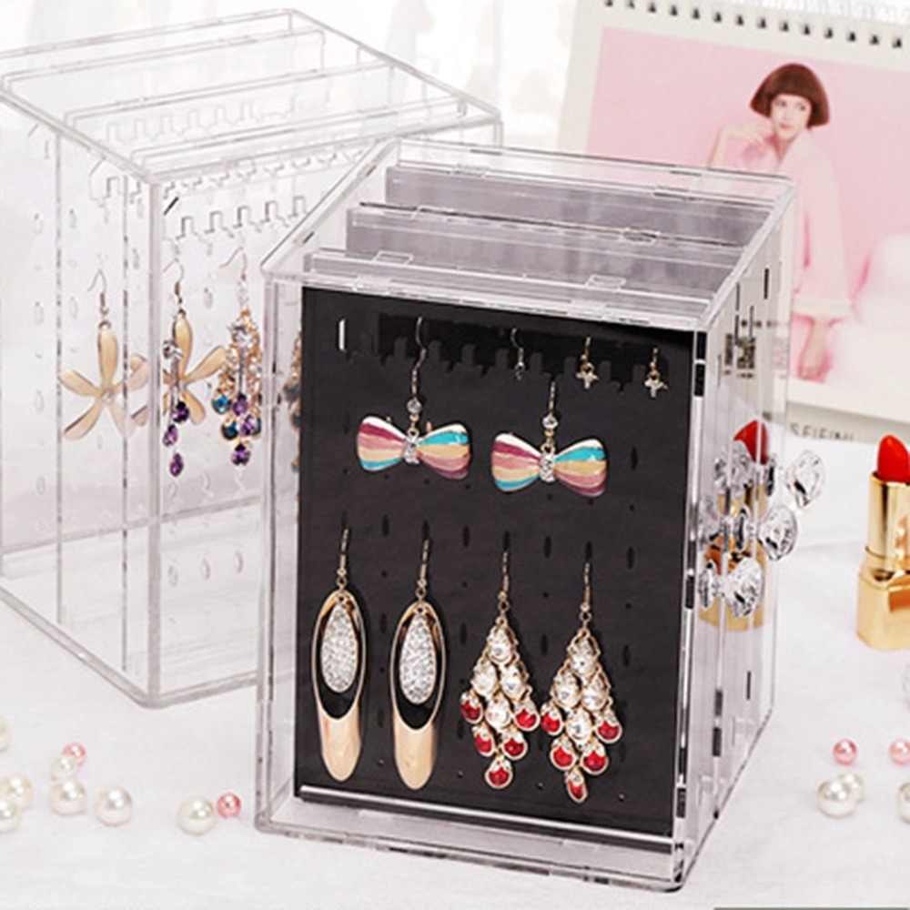 Simple Design Transparent Women Jewelry Display Shelf Practical Desktop Earrings Holder Storage Rack Display Dropshipping