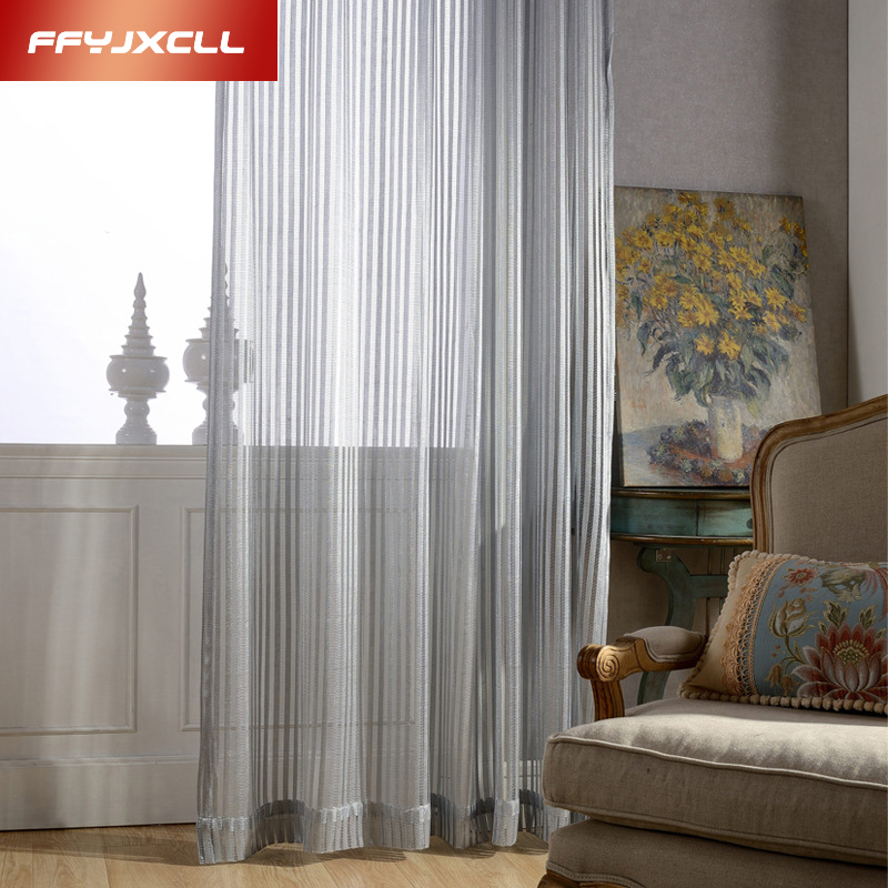 Translucidus Breathable Decorative Modern Curtains For Living Room Striped Tulle Window Bedroom Gray Window Curtain