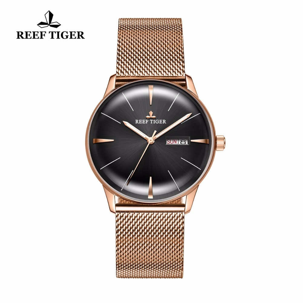 New Reef Tiger/RT Luxury Dress Watches for Men Rose Gold Tone Watches with Date Day Convex Lens Automatic Watches RGA8238 вьетнамки reef day prints palm real teal