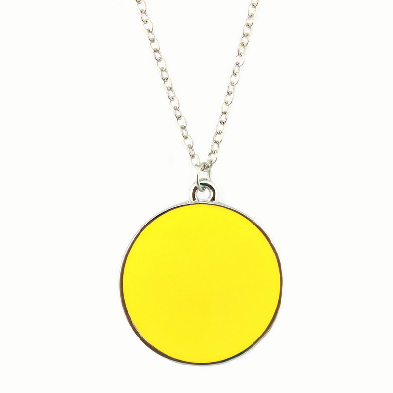 2ccf374cd1 2016 New Pop Color Enamel Round Disc Pendant Necklace Silver Fashion Dip of  Color Long Necklace for Women Jewelry