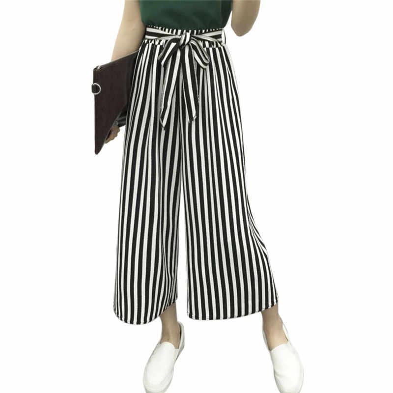 Frauen Breite Bein Lose Gestreiften Hosen Hohe Taille Casual Hosen Damen Büro Hosen Mode Lose Bein Hosen