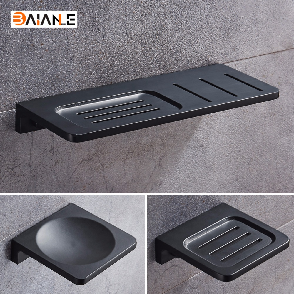 Space Aluminum Black Soap Dish Wall Mounted Bathroom Accessories Product  Soap Dish Holder Free Shipping