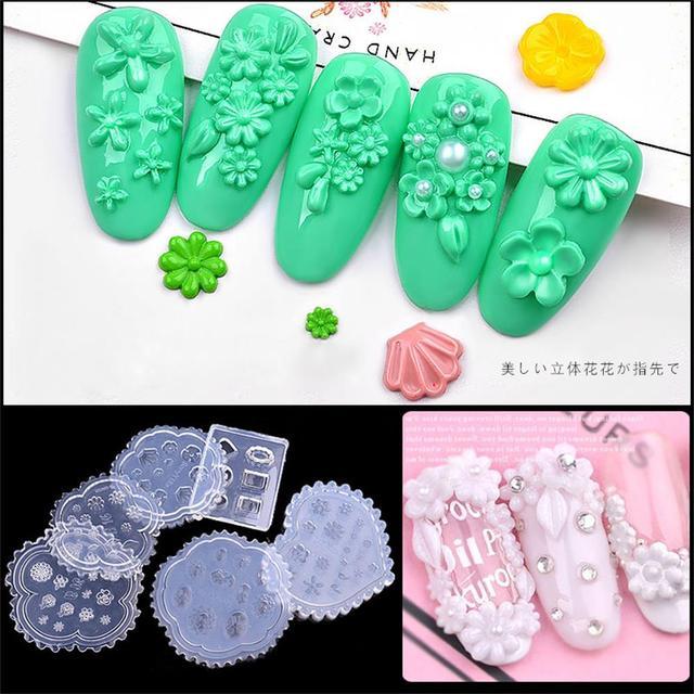 1 PCs Hot DIY Nail Art Nail Art Silicone Mold 3D Folhas Padrão Template Prego Forma UV Acrílico Gel Decorações Da Flor Da Margarida instrumentos de Manicure