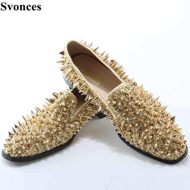 240d5b2b17ce Svonces Luxury Gold Spiked Men Loafers Shoes Super Stars Bling Sequins  Banque Wedding Shoes Slip On Rivets Men Shoes Moccasins