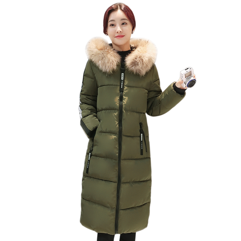 New Plus Size Women Long Coat 2017 Winter Slim Warm Hooded Parkas Wadded Female Coat 6XL Cotton Jacket Fur Collar Outwear YP0406 2017 new women winter jacket long solid color fur hooded slim big size female cotton coat wadded warm parka outerwear ok1006