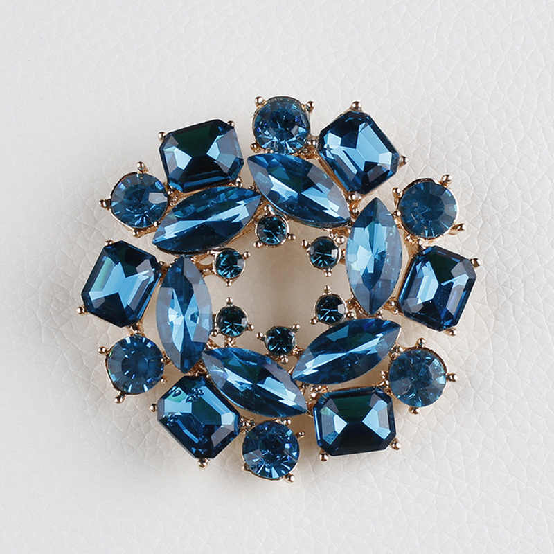 High Quality Blue Glass Crystal Bauhinia Flower Brooch Pins for Sweater