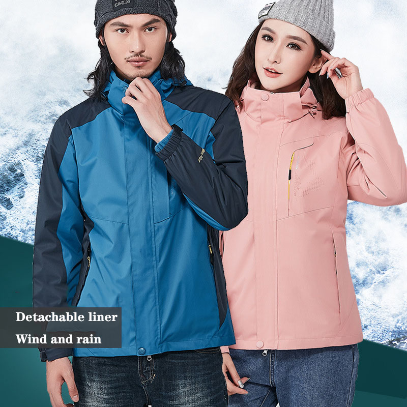 Men Women Outdoor jacket Thicken Warm Windproof Waterproof Jacket Male Female Winter Hiking Trekking Camping Skiing Large Coat(China)