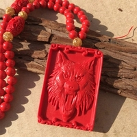 Natural cinnabar pendant Carved Eagle wolf pendant good luck amulet male and female sweater chain