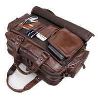 """Männer echte leder aktentasche 16 """"Big echt leder laptop tote Mehrere taschen business reisetasche doppel schicht messenger tasche"""