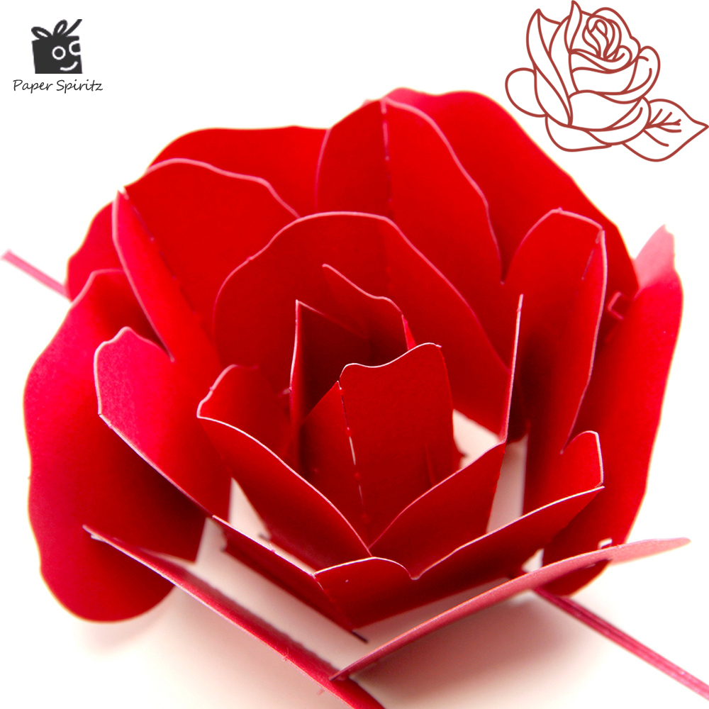 3D Pop up Rose Thank You Greeting Postcards Flower Handmade Blank Vintage Paper Laser Cutting Happy Birthday Love Gift Card