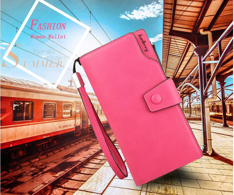 2018 New Wallet Split Leather Wallets Female Long Wallet Women Zipper Purse Money Bag pink one size 2
