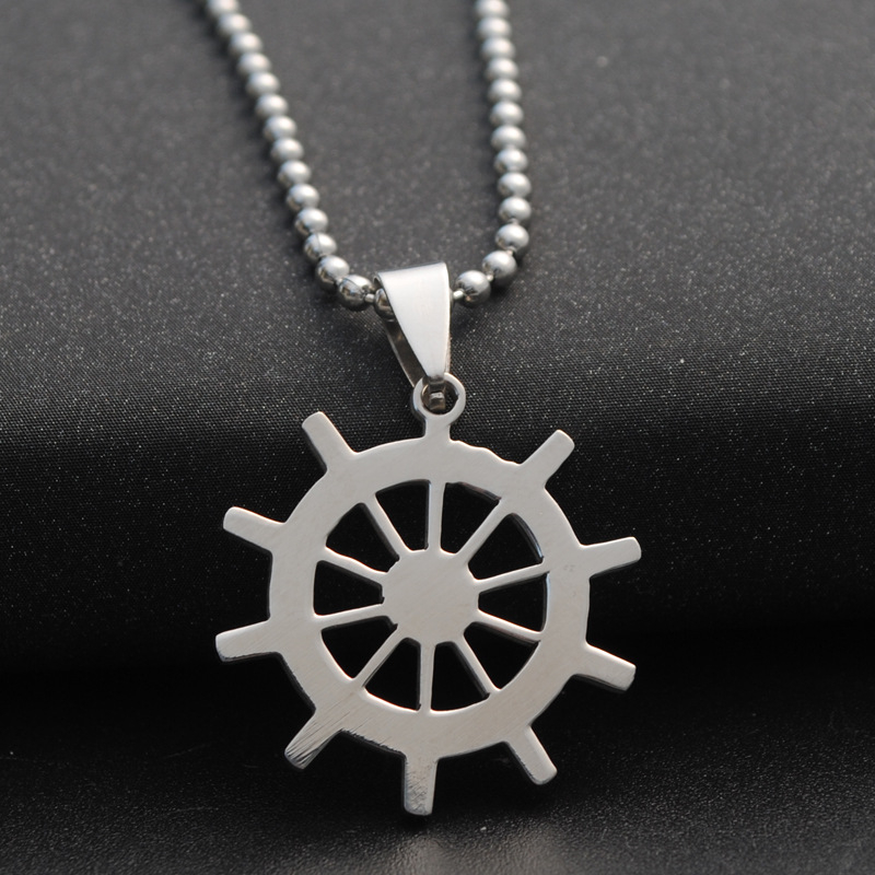 10pcslot Dharma Wheel Pendant Buddhism Symbol Dharmachakra Necklace