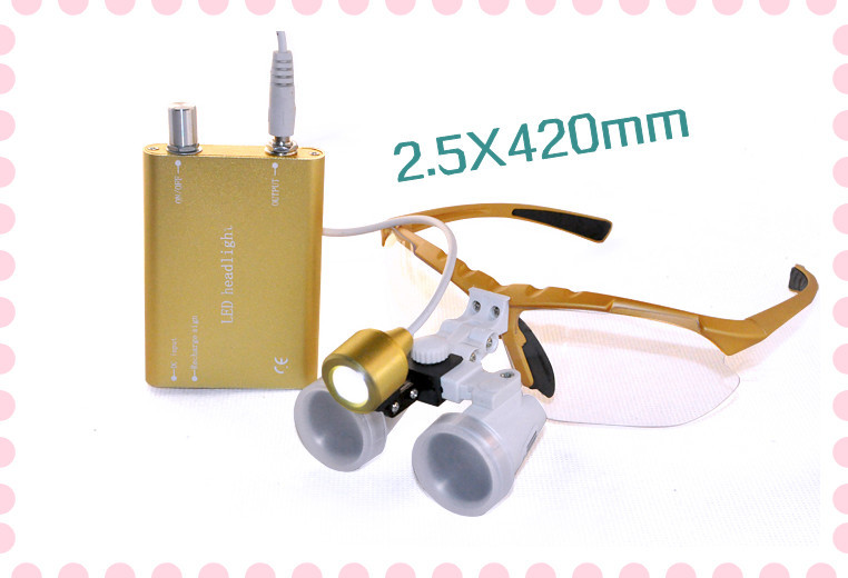 Hot seller Dental Surgical magnifier 2.5X420mm Binocular Loupes Optical Glass + Portable LED Head Light Lamp red free shipping new 2 5x420 magnifier dentist dental surgical binocular loupes optical and portable led head light lamp 2015 a
