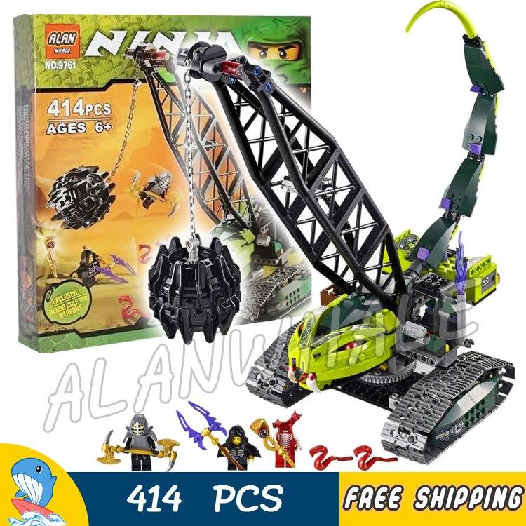 414pcs Ninja Fangpyre Wrecking Ball Crane Snake Arms Tracks 9761 Model Building Blocks Assemble Toys Bricks Compatible with Lego