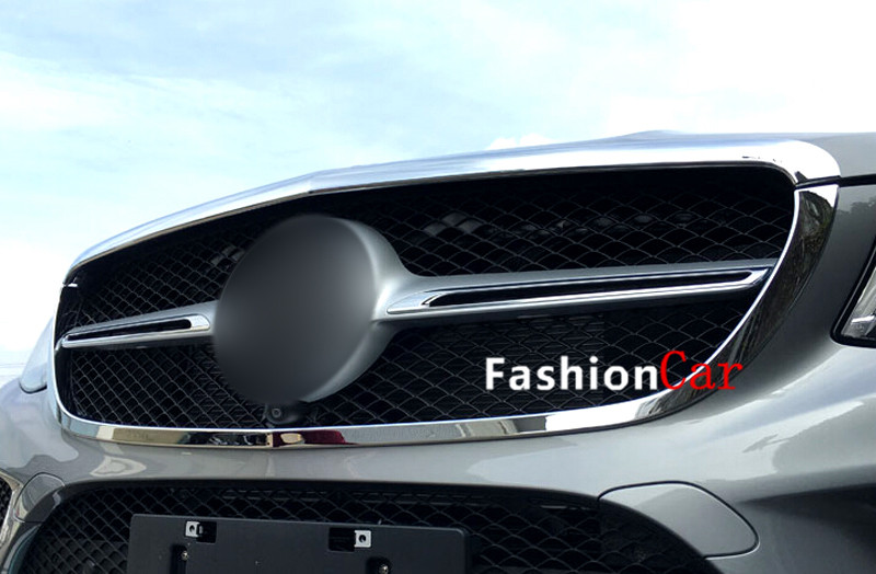 For Mercedes-Benz 2015 2016 GLE Coupe C292 Front center grille grill frame cover trim 2pcs Car styling