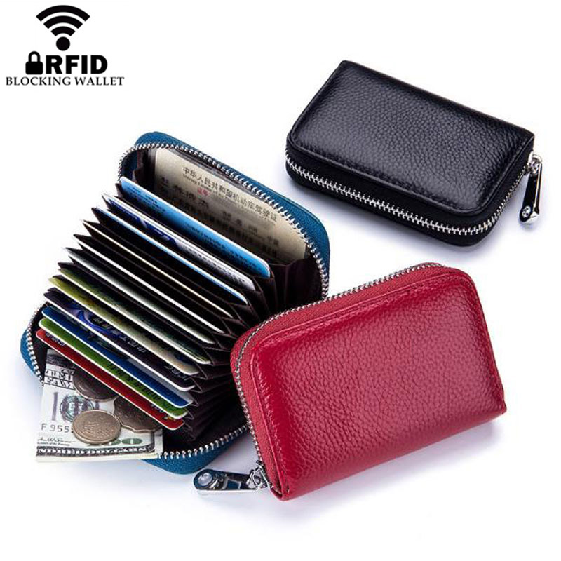 Mens Womens RFID Leather ID Credit Card Holder Pocket Protector Zipper Wallet