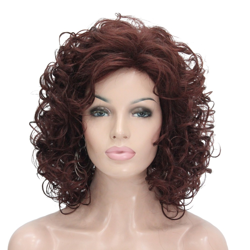 StrongBeauty Women's Wig Blonde/Auburn Medium Curly Hair Natural Synthetic Full Wigs 7 Color