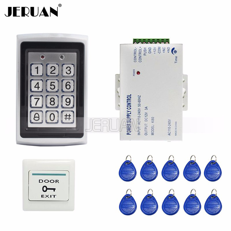 где купить  JERUAN FREE SHIPPING New DIY RFID Keypad Metal RFID Door Entry Access Control Kit + 10 RFID Keys + Power  Easy install  дешево