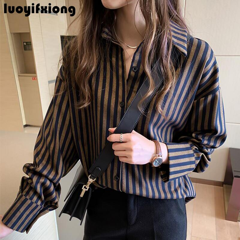 Kimono Cardigan Long Sleeve Vintage Striped Blouse Shirt 2019 New Work Womens Tops and Blouses Loose Casual Plus Size Blusas 4