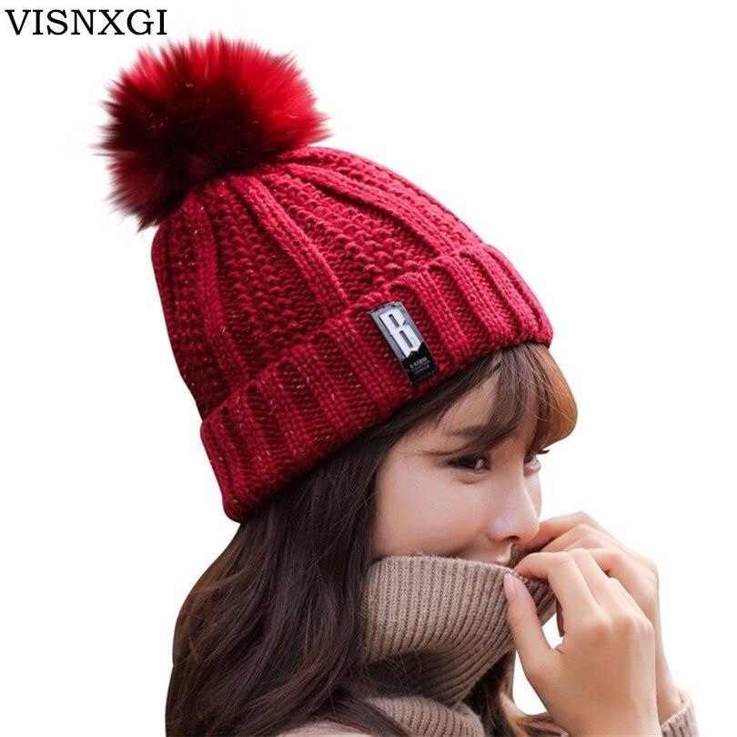 VISNXGI Winter Female Ball Cap Pom Poms Winter Hat For Women Girl 'S Hat Knitted Beanies Cap Hat Thick Women'S Skullies Beanies