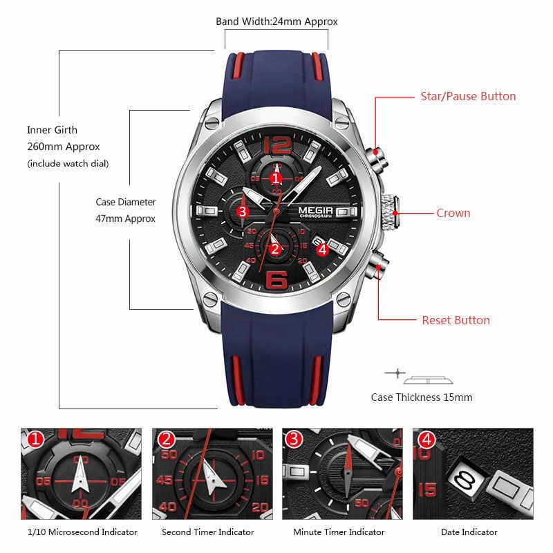 Reloj de cuarzo analógico con cronógrafo Megir para hombre con fecha manos luminosas reloj de pulsera de goma de silicona resistente al agua para hombre