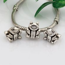 Hot ! 15pcs Antique Silver Alloy  frog Large Hole Spacer Bead Fit European Beads Bracelet 10x13mm nm524