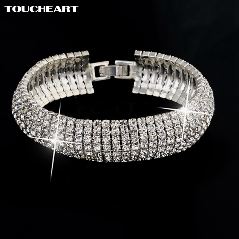 TOUCHEART Fashion Wedding Charm Bracelets & Bangles For Women Vintage Crystal Silver color beads Chain Bracelet Femme Jewelry