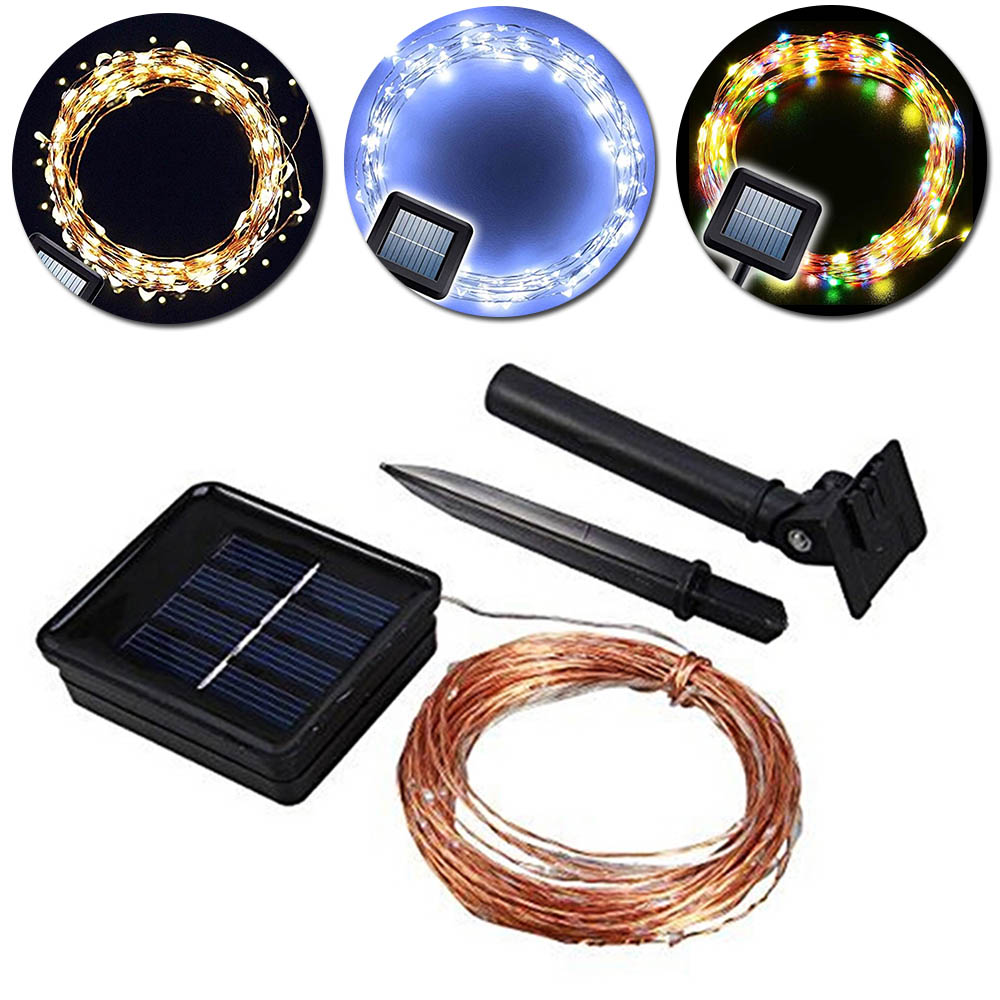 100 LED Outdoor 3 Colors Solar Lamps String Lights Copper Wire Fairy ...