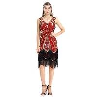 Women 1920s Vintage Great Gatsby Dress Sequins Dress V Neck Tassels Bodycon Beaded Party Dresses Flapper Dresses Art Deco Double