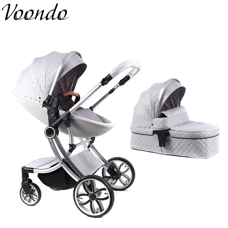 Voondo Carrinho está disponível, deitado e dobrável, alto e portátil para olhar, double-sided recém-nascidos amortecedor 0-4 meses