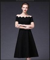 Оптовая продажа женщин праздничное платье пикантные Короткие рукава с открытыми плечами платье элегантный slsah шеи облегающие черные длинн...