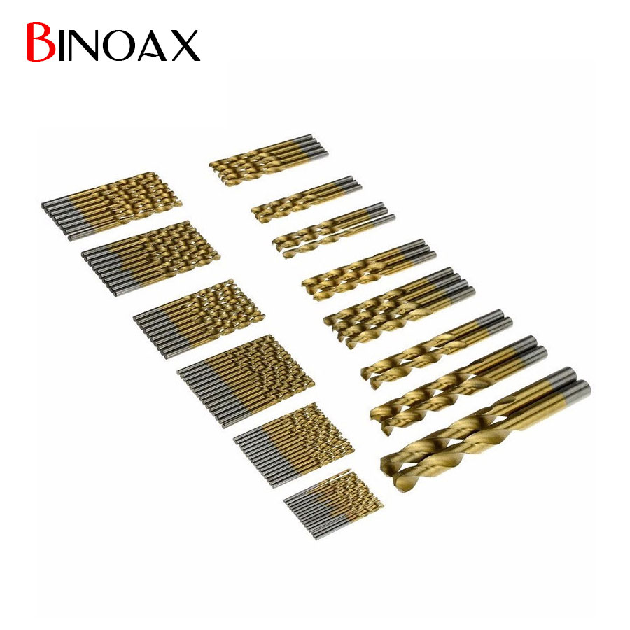 Binoax 99 Pcs 1.5mm - 10mm Manual Twist Drill Bits Titanium Coated HSS High Speed Steel Drill Bit Set Tool #W00336# 99pcs high speed steel twist drill bits 1 5mm 10mm tool with case