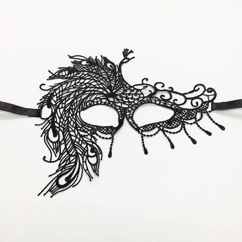 Черная Сексуальная кружевная Маскарадная маска для карнавала, Хэллоуина, маскарада на половину лица, маски для вечеринки, праздничные принадлежности для вечеринки#30 - Цвет: PM014