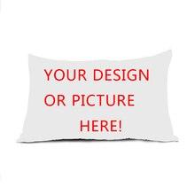 Nuevo Diseño de Logotipo Personalizado personalizado Su Propia Foto Rectángulo Cremallera Almohada Throw Pillow Case Lados Dobles Impresos