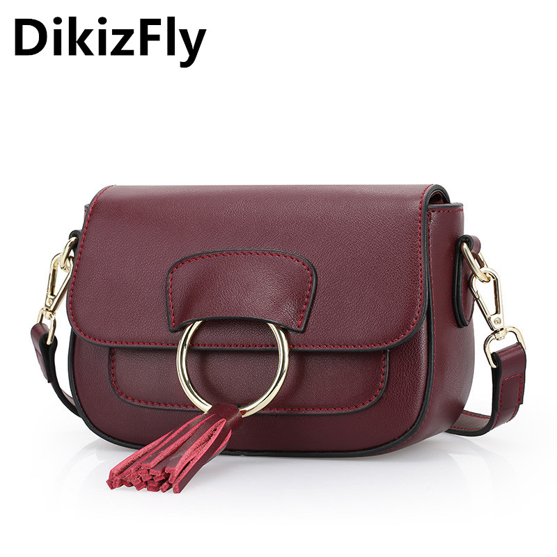 DikizFly Fashion hangbag Vintage bag women messenger bags Genuine leather Saddle Shoulder bag Mini crossbody bags bolsa feminina 2017 fashion all match retro split leather women bag top grade small shoulder bags multilayer mini chain women messenger bags