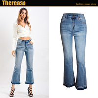 Tissbely Women's Clothes Are Washed Elastic Jeans Wide Leg Ankle Length Pants