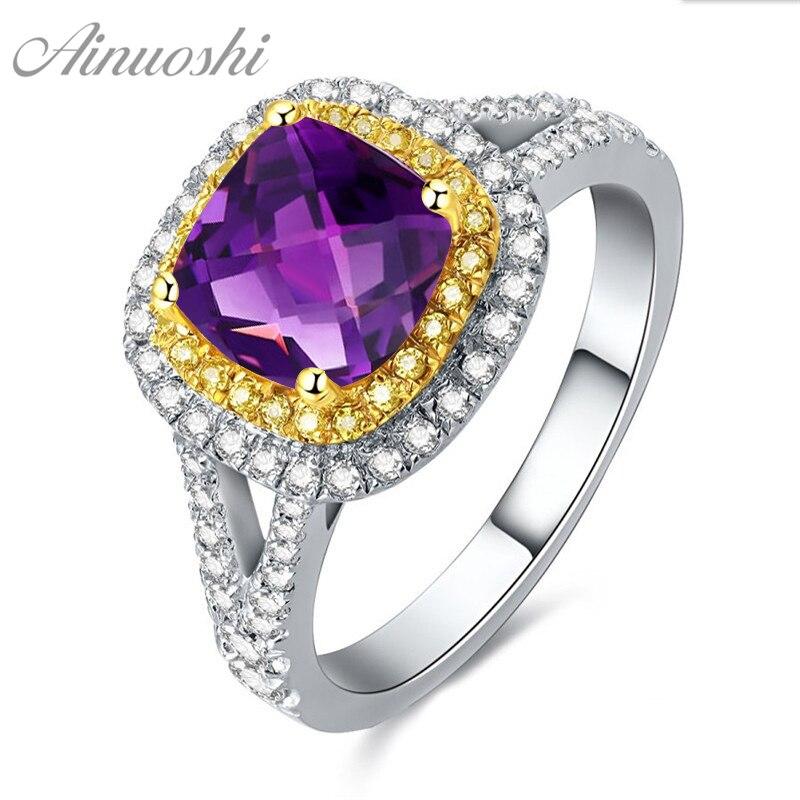 AINUOSHI naturel améthyste carré anneau 2.5ct coussin coupe gemmes de fiançailles femmes bijoux 925 Sterling argent jaune Halo anneau
