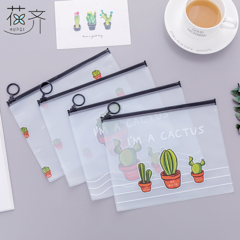 huaqi Lovely Cute Cactus PVC Waterproof School Pencil Cases Stationery Pencil bag Kawaii Bag Girls Pencil Case For School
