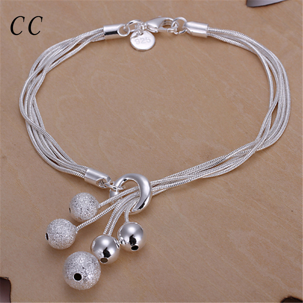 Scurb or glossy beads ball charm bracelets for women simple silver ...
