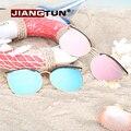 JIANGTUN Cat Eye Марка Дизайн Круглые Очки Женщин Негабаритных Зеркальное Покрытие Солнцезащитных Очков UV400 Gafas Óculos De Sol женщина для